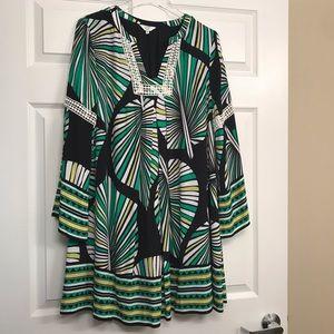 Crown & Ivy | Bell Sleeve Leaf Print Dress